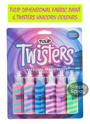 NEW Tulip Dimensional Fabric Paint 3D Twisters Finish-6 TWISTERS UNICORN Colours