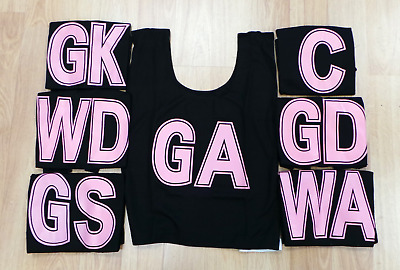 NETBALL BIBS FULL SET (Black with Pink Lettering) Set of 7