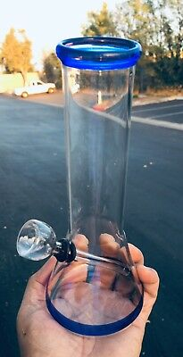 Hookah Water Pipe Glass Bong 8 inch Smoking Pipe w/ Carb Hole Colored Base/Rim