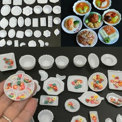 33Pcs Mini Plate Dishes Kitchen Dollhouse Miniature Food Tableware Set Kids Toy