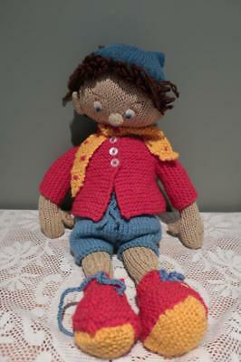 Vintage Hand Knitted Noddy Doll - Knitted Removeable Clothes - Very Loved But Gc