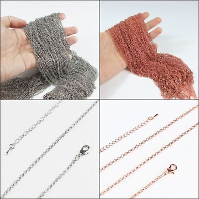 Silver Copper Rose Gold Necklace Jewelry Making Chains DIY Findings 22""