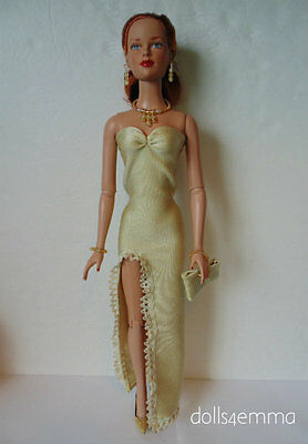 "TYLER DOLL Clothes Gold Gown, Purse & Jewelry 16"" Tonner HM Fashion NO DOLL d4e"