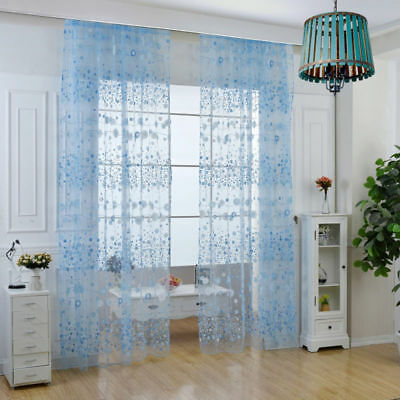 Floral Tulle Window Curtain Sheer Curtain Panel Voile Door Divider Drape Valance
