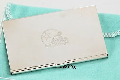 Tiffany & Co. Silver plate Dallas Cowboys Business Card Holder w/ Packaging