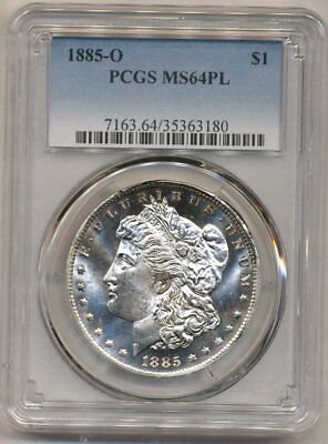 1885-O Morgan PCGS MS-64-PL Silver Dollar Coin Gem New Orleans Mint Proof Like
