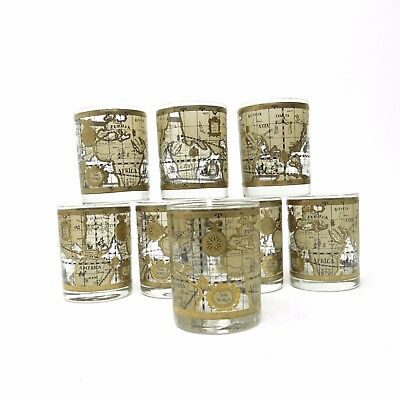 Vtg Cora Old World Nautical Map Gold Mid Century Rock Bar Glasses Lot of 8