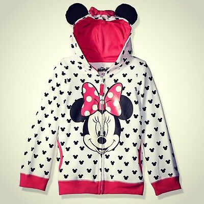 Girls Minnie Hoodie With Polly Filled Ears And Bow Hood Super Soft Zip Up Hoodie