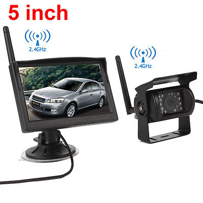 "HD 5"" Monitor+Wireless Rear View Backup Camera Night Vision for RV Truck Bus HOT"