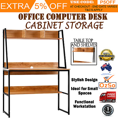 Office Metal Computer Desk Student Study Work Station Table Home Storage Shelves