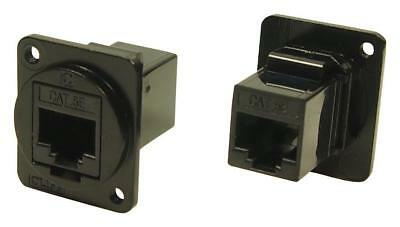 Cat5e RJ45 to RJ45 Panel Mount Feedthrough Connector Black Metal