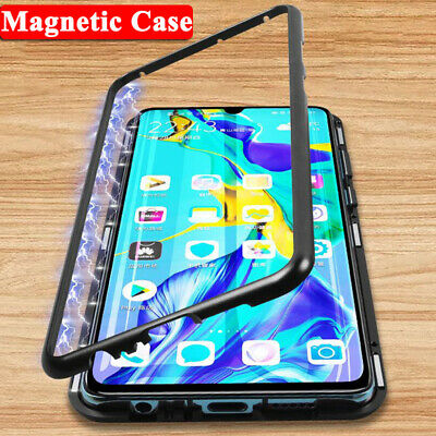 For Huawei P20 Lite Mate 20 Pro Magnetic Adsorption Tempered Glass Case Cover