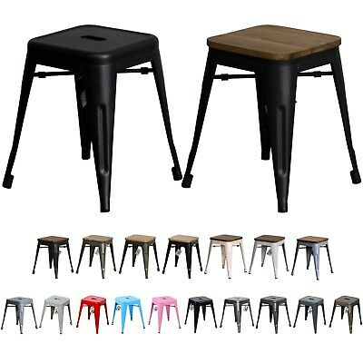 Metal Industrial Stools Seat Chair Kitchen Diner Cafe Restaurant Bar Tolix Style