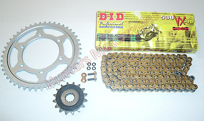 Yamaha FZS600 Fazer DID Gold X-Ring Chain & JT RB Front & Rear Sprockets Kit Set