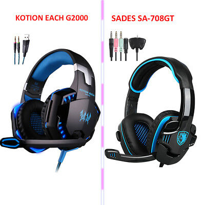 SADES/EACH G2000 Gaming Headphone Stereo Over-ear Mic Headset for PC PS4 Xbox