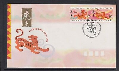 CHRISTMAS IS  1998  Year of the TIGER  design set joined pair  on FDC.