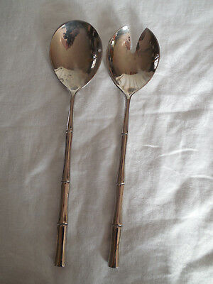 Silver bamboo handle fork & spoon salad serving set Italy