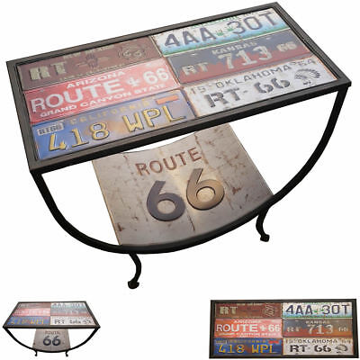 New Route 66 Metal Coffee End Table Number Plate Vintage Retro Side Stand