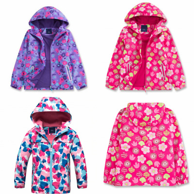 Girls Kids Waterproof Raincoat Hooded Fleece School Lined Jacket Age 2-12 years