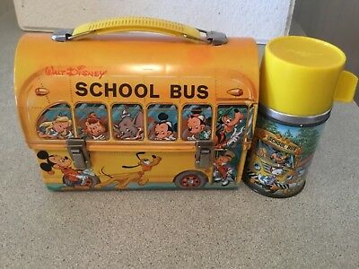 Disney School Bus Dome Metal Lunch Box with Metal Thermos Disney Characters
