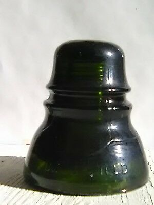 Dark Olive Green w/Amber Brookfield CD152 Hoopskirt Antique Glass Insulator