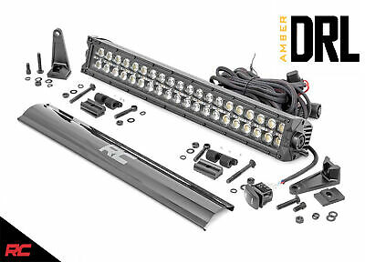Rough Country 70920BLKDRLA 20-inch Dual Row CREE LED Light Bar - Amber DRL