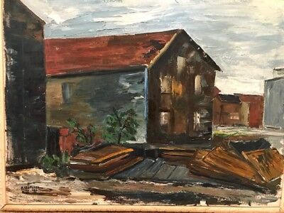 Anthony Sabatucci Oil Painting On Canvas Untitled Buildings Listed Artist '60