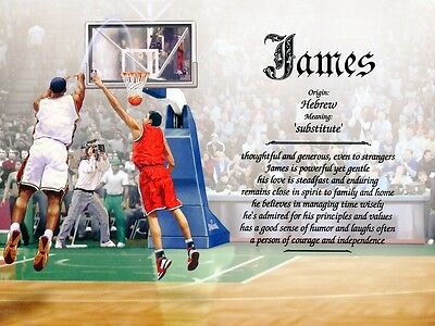 """Boys Mens """"Basketball"""" Name Meaning Print Personalized (Sports)"""