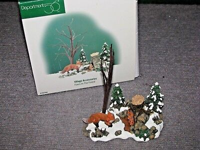 """Vintage Dept 56 Dickens Village """"Foxes In The Forest"""" #52744 Christmas"""