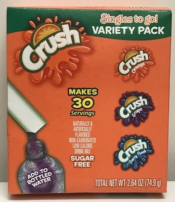 CRUSH ORANGE GRAPE BERRY Singles to Go Sugar Free Drink Mix Variety 30 sticks