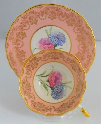 Paragon Floral Peach Bouquet on White Cup and Saucer