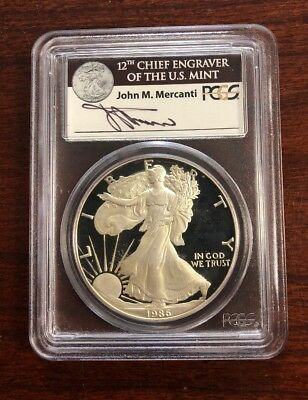 1986-S $1 Proof Silver Eagle PCGS PR69DCAM - Mercanti Signed