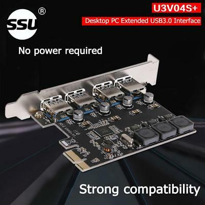 U3V04S+ Cards 4 Ports 5Gbps PCI-E to USB 3.0 PCI-Express Controller Card Adapter