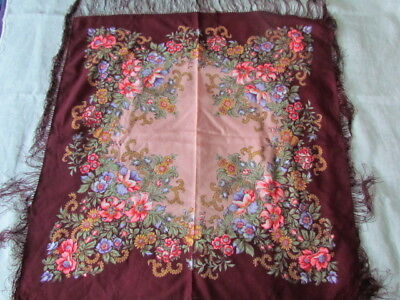 "Wool Scarf 35"" Paisley Floral Roses Vintage Ethnic Russian Ukranian Shawl Craft"