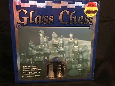 Glass Chess Set Elegant Pieces and Glass board clear n frosted pieces