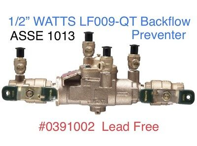 "1/2"" Pipe LF009-QT WATTS RPZ Backflow Preventer Valve ASSE 1013 No Lead 0391002"