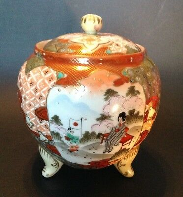 Nippon Satsuma Footed GInger Jar Or Tea Caddy - Red Imari With Moriage - Japan