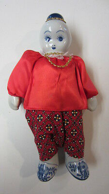Vintage Blue & White Porcelain Face, Hand & Feet Stuffed Asian/Chinese Doll (MD)