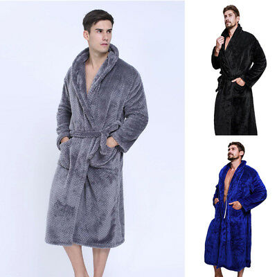 Men Winter Lengthened Coralline Plush Shawl Bathrobe Long Robe Tops Coat Warm