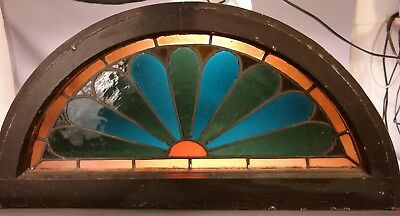 19thC Antique VICTORIAN STAINED Leaded GLASS Old SUNRISE SUN Salvaged WINDOW