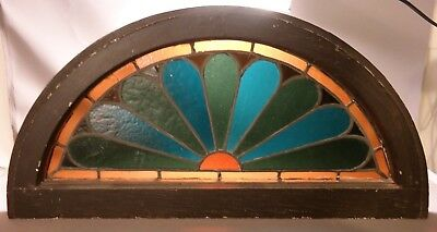 19thC Antique VICTORIAN Era SUNRISE Old HALF MOON Leaded STAINED GLASS WINDOW