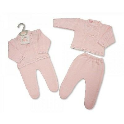 Baby girls knitted pink two piece outfit winter traditonal 0-3-6 months gift
