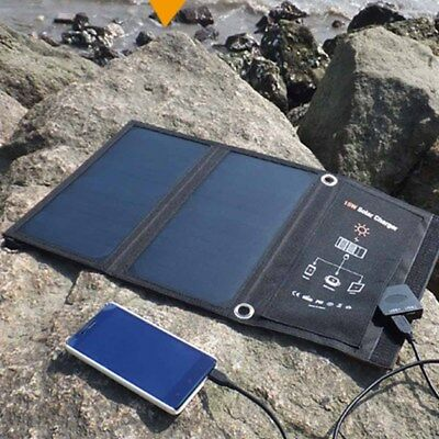 15W Portable Folding Solar Panel Dual USB Camping For Phone Tablet Fast Charger