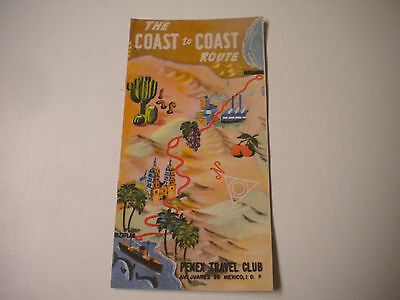 Vintage The Coast to Coast Route, Pemex Travel Club Brochure / Pamphlet (MD)