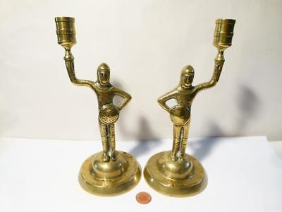 Rare Antique 19thC MEDIEVAL Revival KNIGHTS Unusual Pair Brass Candlesticks