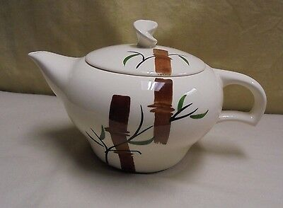 Vintage Japanese Bamboo Hand Painted Genie Style Pottery Tea Pot