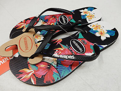 eb095aa01f1263 HAVAIANAS WOMENS SANDALS Slim Tropical Floral Black Size 6 -  9.95 ...