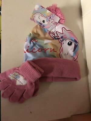 girls Unicorn hat and gloves set