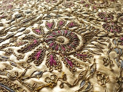 Antique Turkish Ottoman Dense Metallic Embroidery Silk Tablecloth 30""