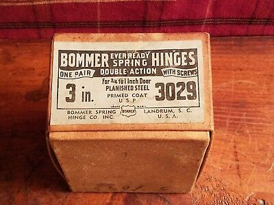 "Vintage 3"" Bommer Double Action Spring Hinges Steel 3029 Pair Gate Door Closer"